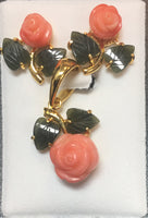 Pink Coral Cubic Flower and Jade Leaf Pendant Set #E-04