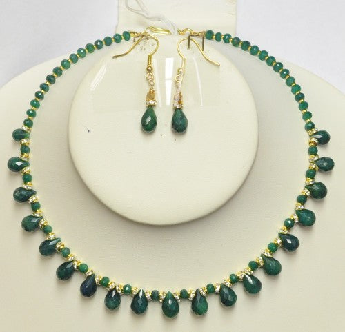 Emerald Drop Necklae Set EDZN-2