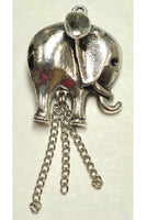 Silver-Color Elephant Charm (33.3mmx3.mm) with Hanging Chain #ECC