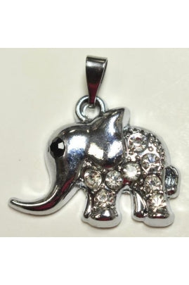 Silver-Color Cute Elephant Pendant (15.5mmx22.5mm) with Cubic Zirconium #CUTE-1