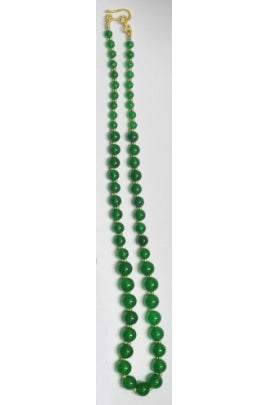 Emerald-color Smooth Quartz Necklace Chain with Gold-Plated Glass Beads