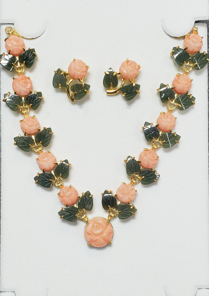 Pink Coral Flat Flower and Jade Leaf Necklace Set #F-02