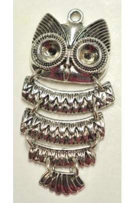 Silver-Color Fish-Owl II Pendant Charm (46mmx26.5mm) FO-2
