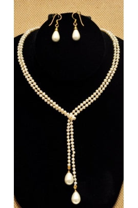 Freshwater Pearl Set with Pearl Drops with 24KT gold plated beads