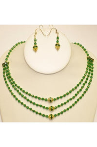 3-string Faceted Green Jade Necklace Set #GJ-1