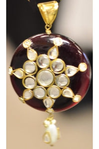 Garnet-color Polki Pendant 40mm with Kundun-Work