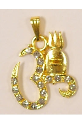 Golden color om and shiva pendant 235mmx27mm with cubic zirconia golden color om and shiva pendant 235mmx27mm with cubic zirconia mozeypictures Choice Image