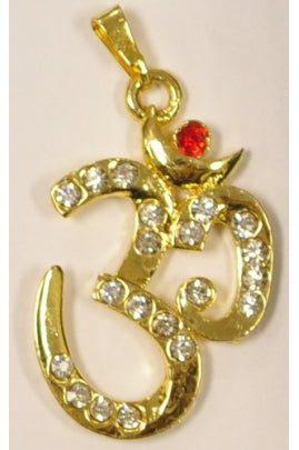 Golden-color OM pendant 25mmx34.5mm with Cubic Zirconia