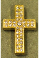 Golden Color Cubic Zirconia Cross 33mmx22mm