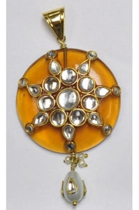 Honey-brown Polki Pendant 40mm with Kundun-Work