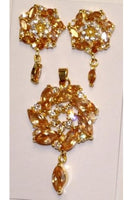Honey Brown Color Cubic Zirconia Pendant and Earring Set #HCZ-1