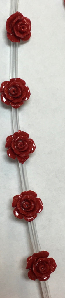 Red Side-Drilled Powdered Coral Rose Flower