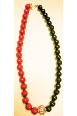Coral and Jade Necklace Chain with Pandora-Style Pendant