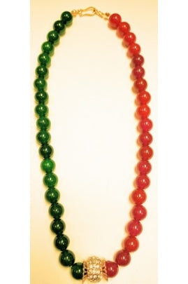 Ruby-color and Emerld-Color Jade Necklace with Pandora-Style Pendant