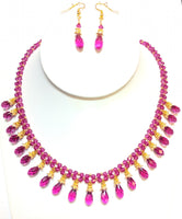 2-Strand Fuschia-Color Swarovski Drop Necklace Set #FSD-2