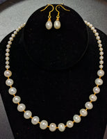 Pearl Necklace Set with Alternating Golden Spacers