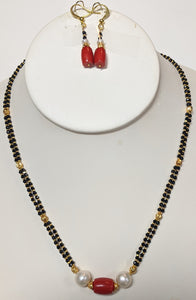 2-String Spinel Necklace Set with 24kt Gold Plated Beads, Pearl, and Coral Drum