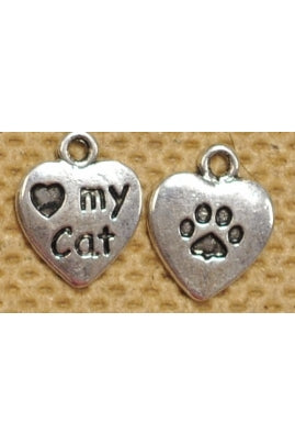 I Love My Cat Charm 12mm (One Charm, 2-Sided)