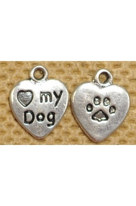 """I Love My Dog"" Charm 12mm (one charm, 2-sided)"