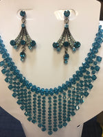 Indicolite-Blue Swarovski Bicone Multi-layer Necklace Set
