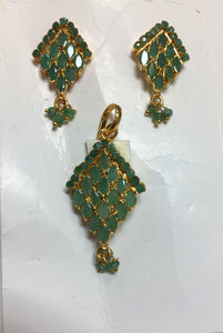 Emerald Pendant Set #J-1417E
