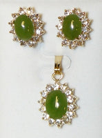 Jade Cab and Cubic Zirconia Pendant Set #JZ-1