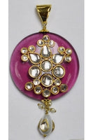 Lavender Polki Pendant 40mm with Kundun-Work