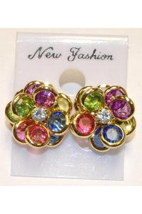 Multi-color Rhodium Crystal 13mm Flower Earrings #CE-3