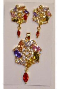 Multi Color Cubic Zirconia Twisted Shape Pendant and Earring Set #MCZT-1