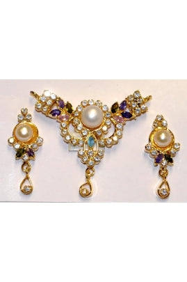 Pearl and Multi Color Cubic Zirconia Pendant and Earring Set MCZP-1