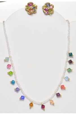 Multi-color Swarovski Bicone Necklace Set with Quartz Beads