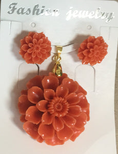 Orange-ish Pink Resin Sunflower Pendant Set #OSF-2