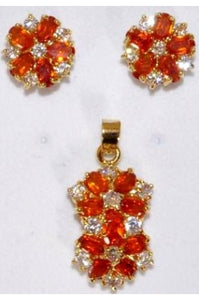Orange and White Cubic Zirconia Flower Shape Pendant and Earring Set #OCZ-1