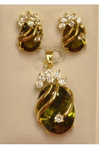 Olive Green Cubic Zirconia Drop Pendant and Earring Set #OGCZD-1