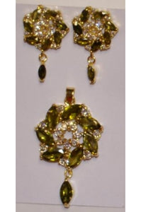 Olive Green Color Cubic Zirconia Twisted Shape Pendant and Earring Set # OTP-1