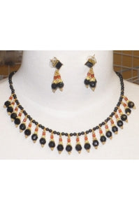 Onyx and Swarovski Crystal Necklace Set #ONS-1