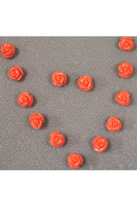 Orange-ish Pink Powdered Coral Flower 8mm (SOLD PER SINGLE FLOWER)