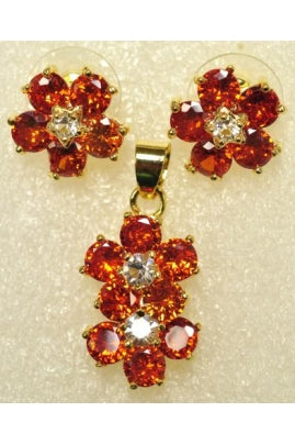 Orange and White Cubic Zirconia Flower Shape Pendant and Earring Set #OCZ-2