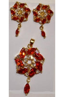 Orange Cubic Zirconia Twisted Shape Pendant and Earring Set #OTP-1