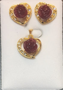 Ruby-Color Quartz Cubic Flower Pendant Set #P-10RQ