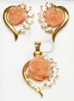 Pink  Coral Cubic Flower and Cubic Zirconia Pendant Set #P-14P