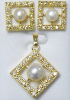 Pearl and Cubic Zirconia Pendant Set #P-29