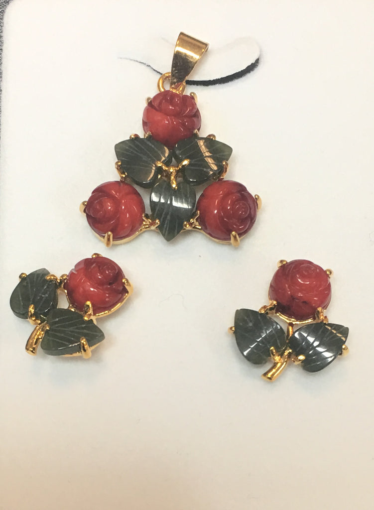 Red Coral Flat Flower and Jade Leaf Pendant Set #P-4R