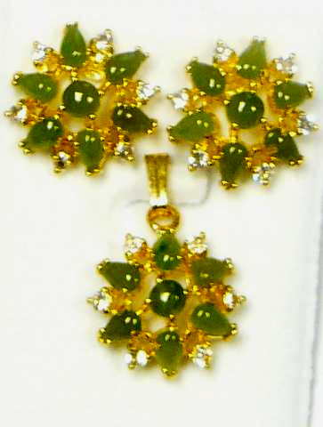 Jade Cab and Cubic Zirconia Pendant Set #PE-24J