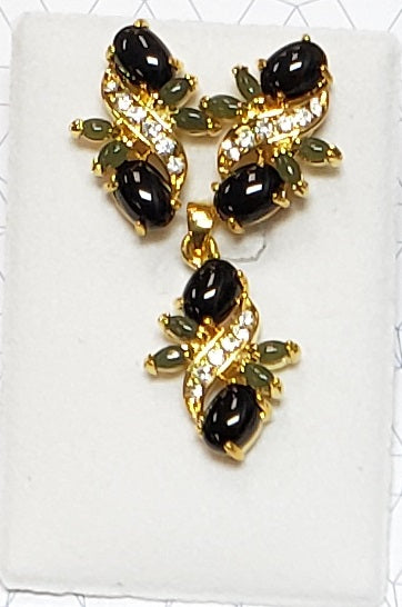 Black Onyx and Jade Cab Pendant Set with CZ Stones #PE-25B