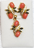 Pink Coral and Jade Cab Pendant Set with CZ Stones #PE-25P