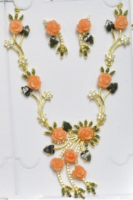 Pink Coral Cubic Flower and Jade Leaf & Cab Necklace Set with Zirconia #PZJ-3