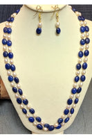 Pearl and Neelam Oval Necklace Set (20 inches long)