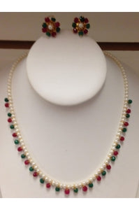 Pearl, Ruby, and Emerald Necklace #PRE-2