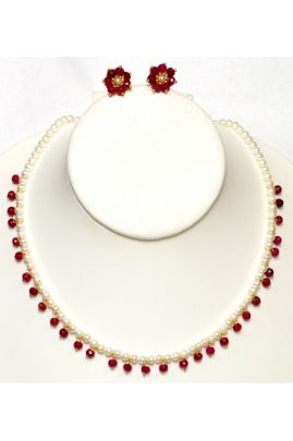 Pearl and Dangling Ruby Necklace Set